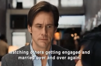 "Deep conversation on life and love was not included. (Picture: Jim Carrey in ""Yes Man"")"